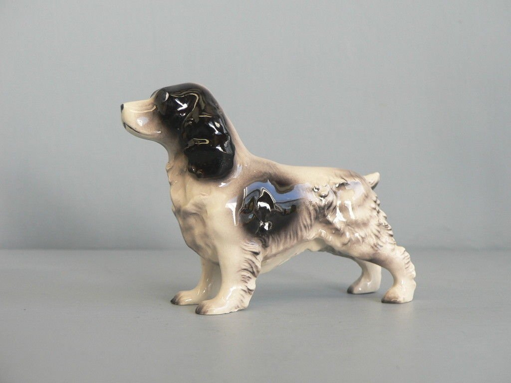 "COCKER SPANIEL Dog PEDIGREE ""His Nibs"" Parti-color Black/White Figurine Ceramic n Gift Box HAGEN-RENAKER 1014"