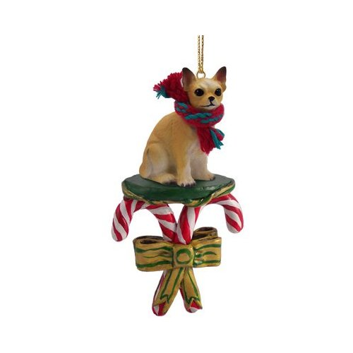 CHIHUAHUA Dog White/Tan CANDY CANE New CHRISTMAS Ornament New DCC06B