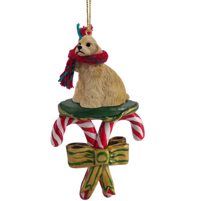 COCKER SPANIEL DOG Buff CANDY CANE CHRISTMAS Ornament New DCC15C