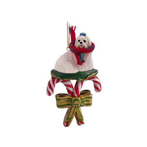 MALTESE Dog CANDY CANE CHRISTMAS Ornament New DCC34