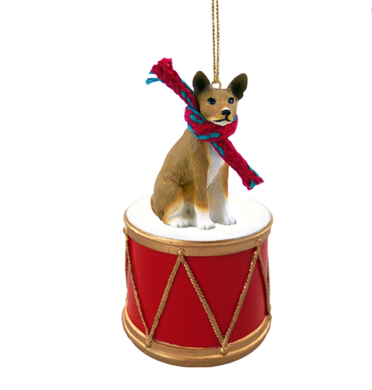 BASENJI Dog sitting on a DRUM Christmas Ornament w/Gold String & Scarf DRD70
