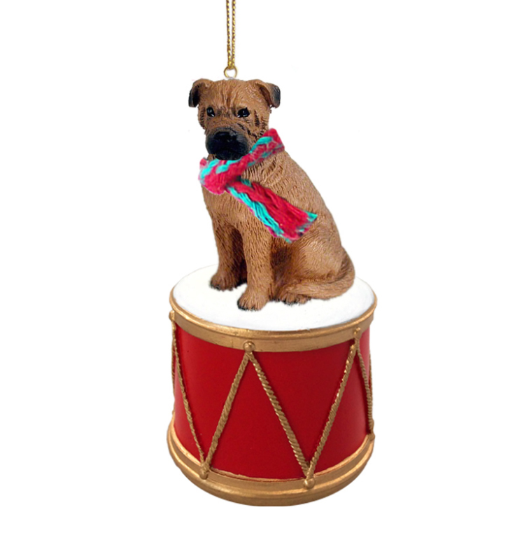 BULLMASTIFF Dog sits on a DRUM Christmas Ornament w/Gold String & Scarf DRD88