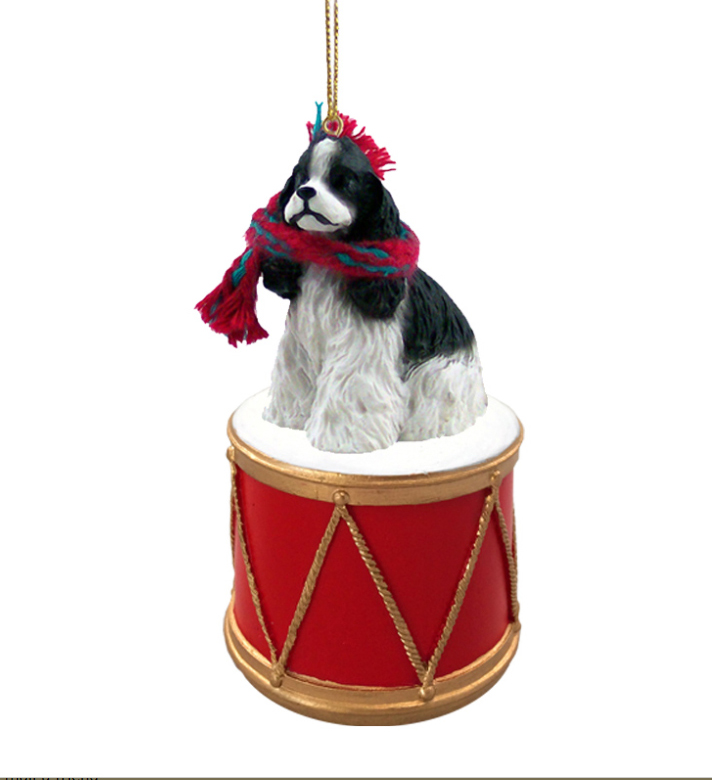 COCKER SPANIEL BLACK and WHITE Dog DRUM Christmas Ornament w/Gold String & Scarf DRD15E
