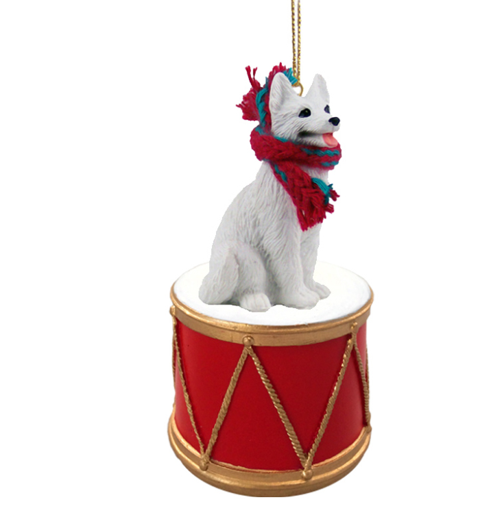 GERMAN SHEPHERD White Dog sits on a DRUM w/scarf Christmas Ornament DRD08C