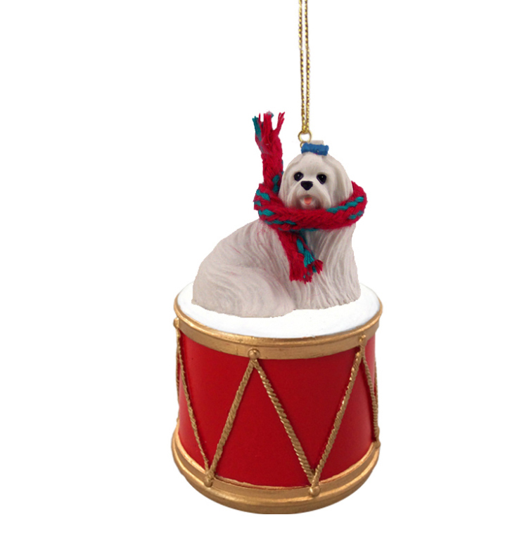 MALTESE Dog sits on DRUM w/scarf and a gold string Christmas Ornament DRD34