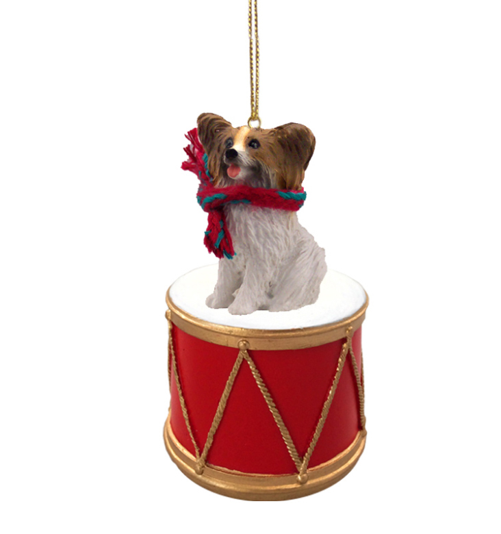 PAPILLON Brown Dog sits on a DRUM Christmas Ornament w/Gold String & Scarf DRD47A