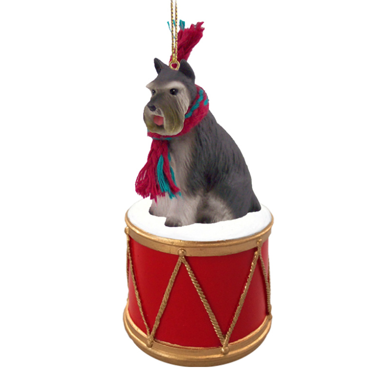 SCHNAUZER Dog Grey sits on a DRUM Christmas Ornament w/Gold String & Scarf DRD13B