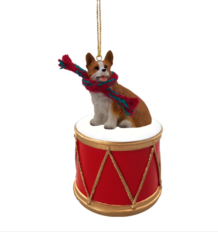 WELSH CORGI PEMBROKE Dog sits on a DRUM Christmas Ornament w/Gold String & Scarf DRD51A