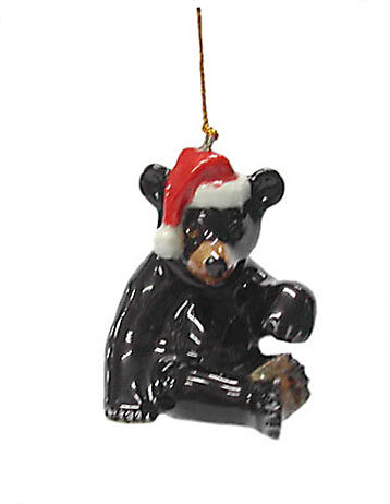 BLACK BEAR n/Santa Hat MINIATURE Figurine Northern Rose ORNAMENT R340