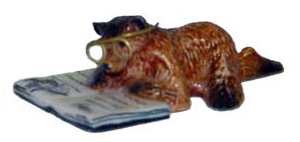 BROWN BEAR Cub w/Book/Glasses lays reads SUPER MINI Porcelain KLIMA K160E