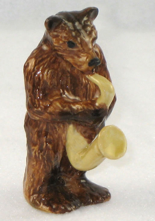 BROWN BEAR w/Saxophone New MINIATURE Porcelain KLIMA K144