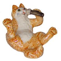 KLIMA Ginger CAT w/MICROPHONE New MINIATURE Porcelain Figurine K629B