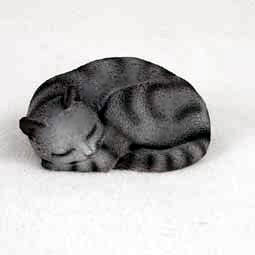 CAT Silver Tabby PLEASANT DREAMS Sleeps n Circle Resin New Medium FIGURINE Resin CF41