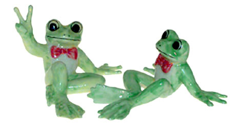 FUNNY FROGS (2) n RED BOW TIES Chat New MINIATURE Figurines Porcelain KLIMA K355C