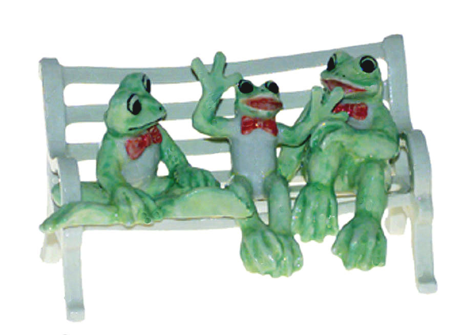 FUNNY FROGS (3) n RED BOW TIES on BENCH MINIATURE Figurine Porcelain KLIMA K355A