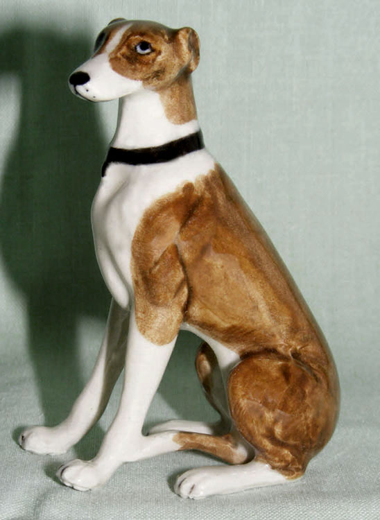 GREYHOUND Dog Brown Sits New Figurine MINIATURE Porcelain KLIMA K846E