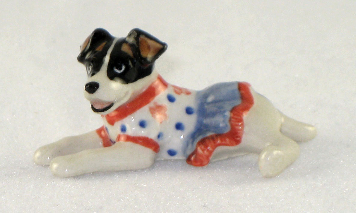 JACK RUSSELL n Orange/Blue Dress SUPER MINIATURE Porcelain KLIMA L887E