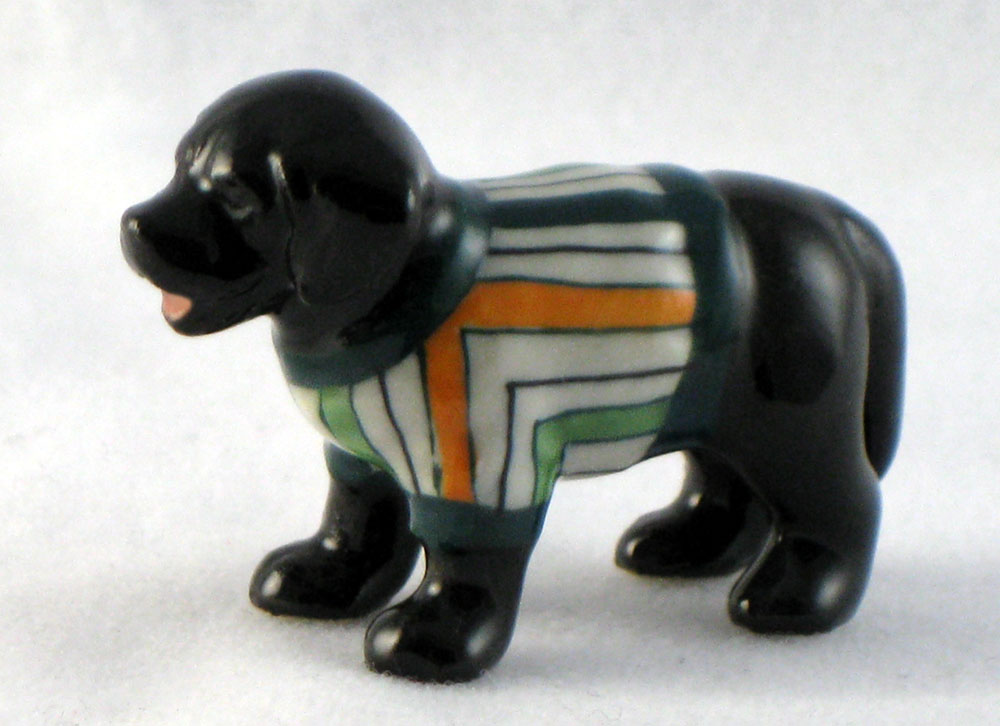 LABRADOR Dog Black n racing Stripes Sweater SUPER MINIATURE Figurine Porcelain KLIMA L893G