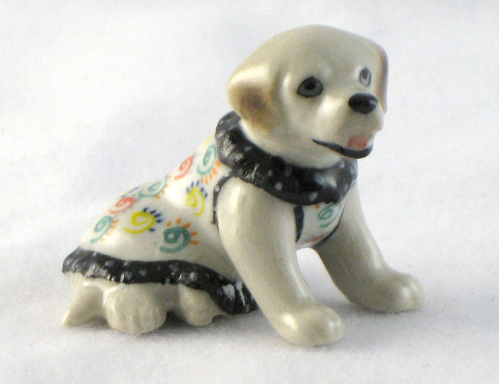 LABRADOR RETRIEVER n Blk/Wht w/Roses Dress MINIATURE Figurine Porcelain Klima L893C