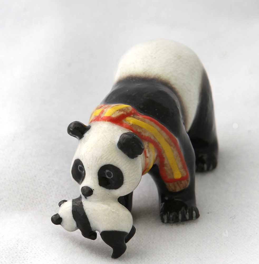 Panda Bear Mom n Yellow Scarf while carrying her Cub Super MINIATURE FIGURINE Porcelain New Klima L170C