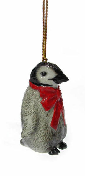 PENGUIN Chick w/Red Bow Christmas Ornament MINIATURE New Figurine Porcelain NORTHERN ROSE R257