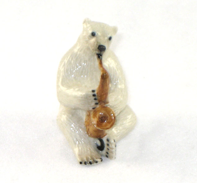 KLIMA POLAR BEAR plays SAXOPHONE MINIATURE Porcelain K675
