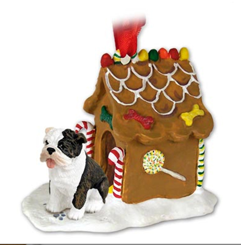 BULLDOG Brindle Dog New Resin GINGERBREAD HOUSE Christmas Ornament 05B