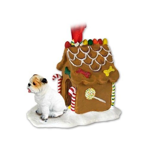 BULLDOG White Dog New Resin GINGERBREAD HOUSE Christmas Ornament 05C