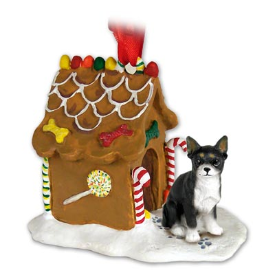 CHIHUAHUA Dog Black GINGERBREAD House Christmas CHRISTMAS Ornament Resin NEW 06A