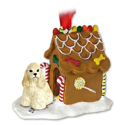 COCKER SPANIEL Dog Buff GINGERBREAD House CHRISTMAS Ornament 15C