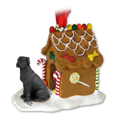 GREAT DANE Dog Black uncrop GINGERBREAD House CHRISTMAS Ornament 100A