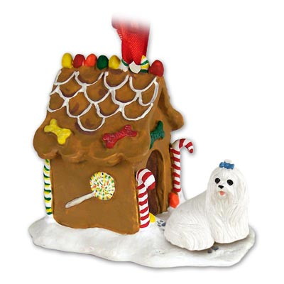 MALTESE TERRIER Dog GINGERBREAD House CHRISTMAS Ornament 34