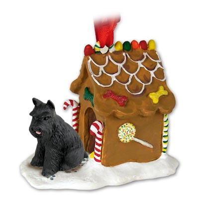 SCHNAUZER Dog black GINGERBREAD House Christmas ornament 13A