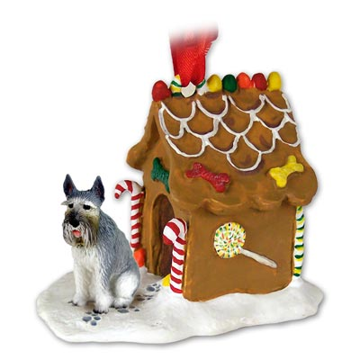 GIANT SCHNAUZER Dog Gray GINGERBREAD House CHRISTMAS Ornament 58A