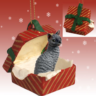 Cat CORNISH Rex Blue in RED GIFT BOX Christmas Ornament RGBC07