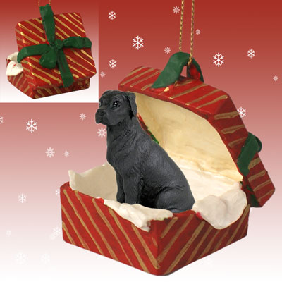 GREAT DANE Black Uncrop Dog New RED GIFT BOX CHRISTMAS Ornament RGBD100A