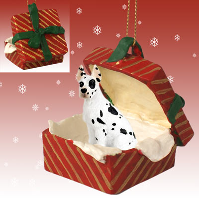 GREAT DANE HARLEQUIN on RED GIFT BOX CHRISTMAS Ornament RGBD16C