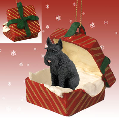 GIANT SCHNAUZER Black Dog RED GIFT BOX Christmas Ornament NEW RGBD58B