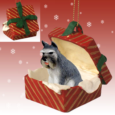 SCHNAUZER Gray Dog NEW Red Gift Box Christmas Ornament RGBD13B
