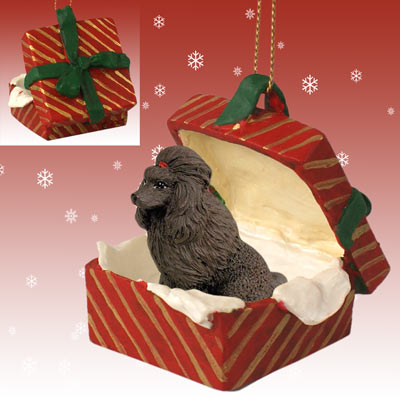 POODLE Dog Chocolate New Red Gift Box Christmas Ornament Resin RGBD01E