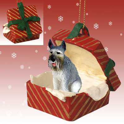GIANT SCHNAUZER Dog Gray New RED GIFT BOX CHRISTMAS Ornament RGBD58A