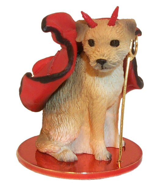 BORDER TERRIER dog DEVIL Ornament MINIATURE New Resin DTD94