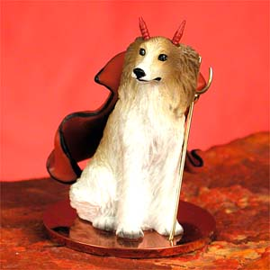 BORZOI Dog MINIATURE DEVIL Christmas Ornament new resin DTD74