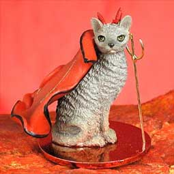 CAT CORNISH REX Blue MINIATURE DEVIL Christmas Ornament resin CTD07