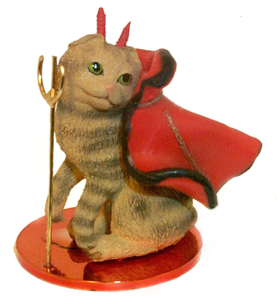 CAT SCOTTISH fold brn tabby DEVIL Christmas Ornament MINIATURE Resin CTD20