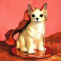 CHIHUAHUA Dog white/tan DEVIL MINIATURE New CHRISTMAS Ornament DTD06B