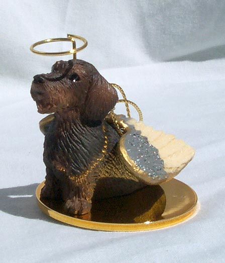 DACHSHUND Dog Wire hair MINIATURE ANGEL CHRISTMAS Ornament new Resin DTA124