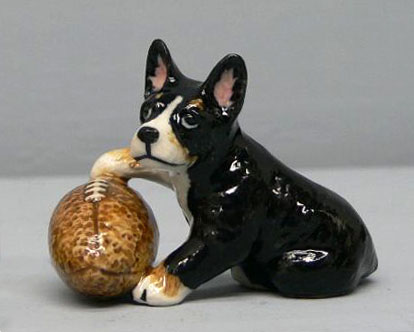 FRENCH BULL DOG pup w/Football MINIATURE new NORTHERN ROSE R246D