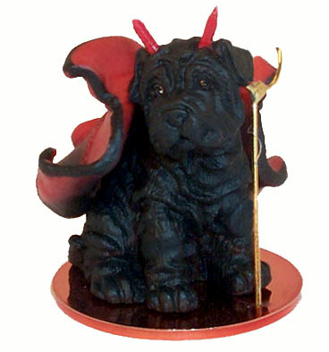 SHAR PEI Dog Black MINIATURE Devil resin Christmas Ornament new DTD40B